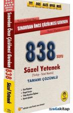 ALES DGS KPSS MSÜ TYT Sınavdan Önce Çözülmesi Gereken 838 Soru Sözel Yetenek